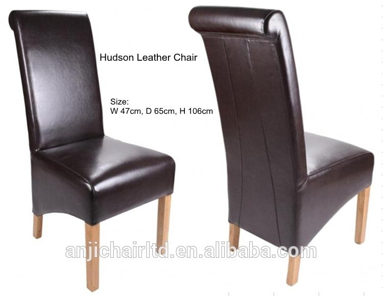 Classic Roll Back Wood Frame High Back Leather Dining Chair, View In High Back Leather Dining Chairs (Image 5 of 20)