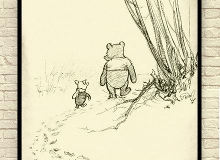 Classic Winnie The Pooh Wall Art, Winnie The Pooh Art Print, Baby Within Classic Pooh Art (View 15 of 20)