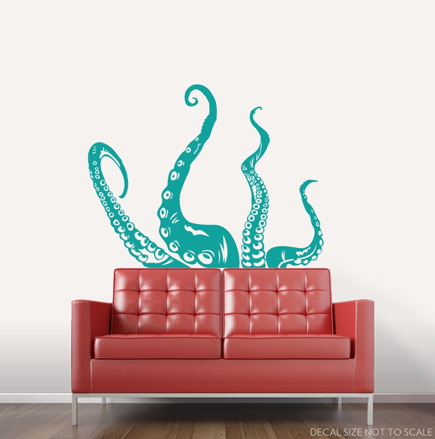 "Clearance] Turquoise 36"" Octopus Tentacles Wall Art Decal Inside Octopus Tentacle Wall Art (Image 8 of 20)"