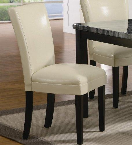 Coaster Set Of 2 Parson Dining Chairs In Cream Leather Like With Best And Newest Ivory Leather Dining Chairs (View 3 of 20)