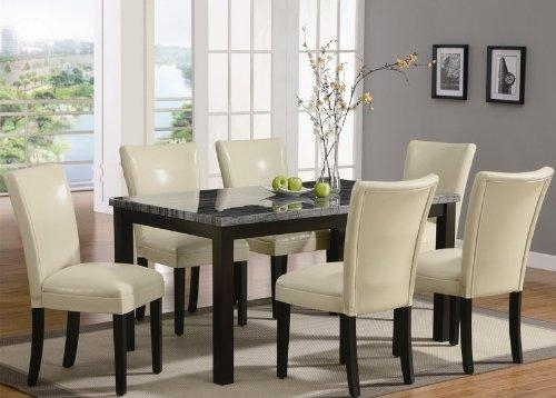 Coaster Set Of 2 Parson Dining Chairs In Cream Leather Like With Regard To Cream Leather Dining Chairs (Image 5 of 20)