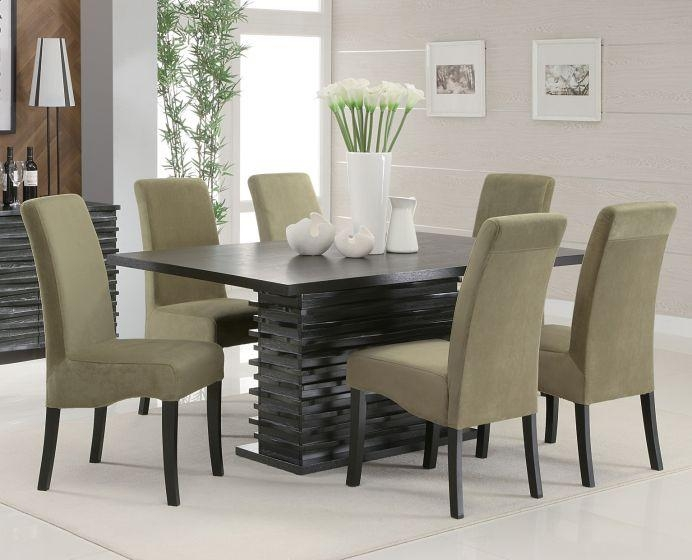Coaster Stanton 7 Piece Black Rectangular Dining Table Grey Chair Set Regarding Most Current Dining Tables With Grey Chairs (Image 10 of 20)