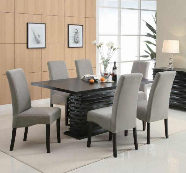 Coaster Stanton 7 Piece Black Rectangular Dining Table Grey Chair Set Within 2017 Dining Tables Grey Chairs (Image 12 of 20)