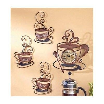 Coffee Wall Art Set Metal Mugs Clock Decor Cafe House Kitchen Intended for Coffee Bistro Wall Art  sc 1 st  GotoHomeRepair.com & Wall Art: Coffee Bistro Wall Art (#6 of 20 Photos)
