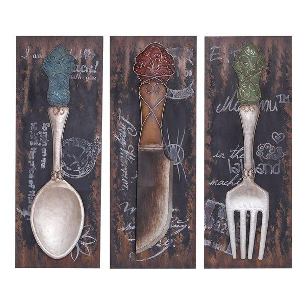 Cole & Grey 3 Piece Wall Decor & Reviews | Wayfair Regarding Utensil Wall Art (Image 8 of 20)