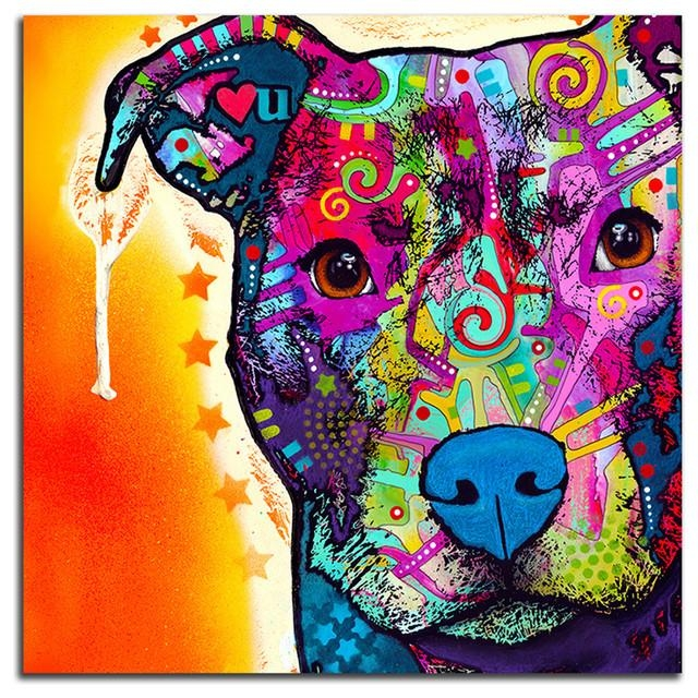 Colorful Pitbull Metal Wall Art – Contemporary – Prints And Throughout Pitbull Wall Art (View 8 of 20)