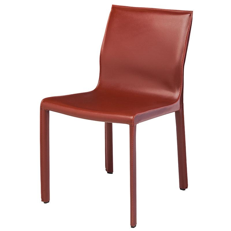 Colter Modern Leather Dining Chair Red With Regard To Red Leather Dining Chairs (Image 7 of 20)