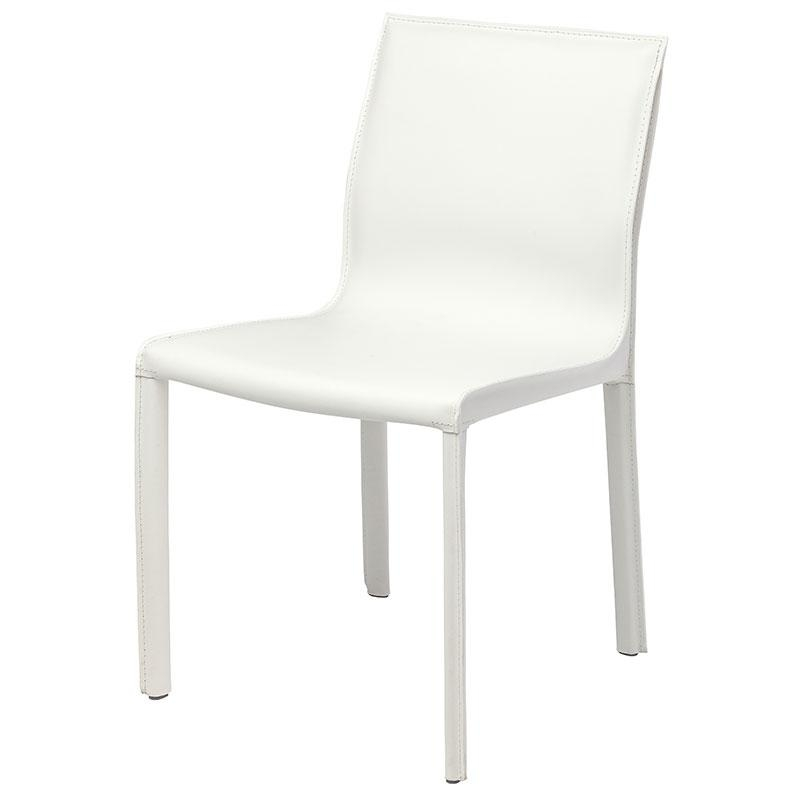 Colter Modern Leather Dining Chair White Intended For White Leather Dining Chairs (Image 12 of 20)