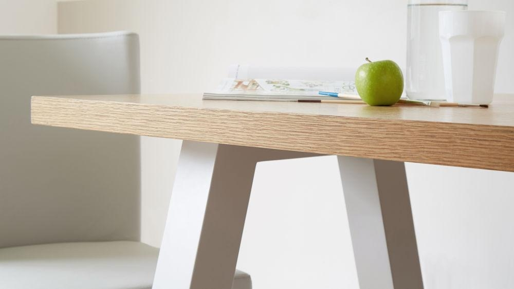 Contemporary 6 Seater Oak And Matt Grey Dining Table | Uk Regarding Latest Oak Dining Tables (Image 9 of 20)