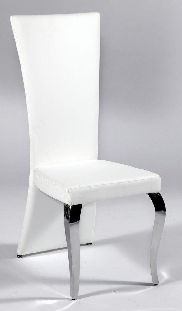 Contemporary Frosted Glass Top Microfiber Seats Leather Modern With Regard To White Leather Dining Chairs (Image 13 of 20)