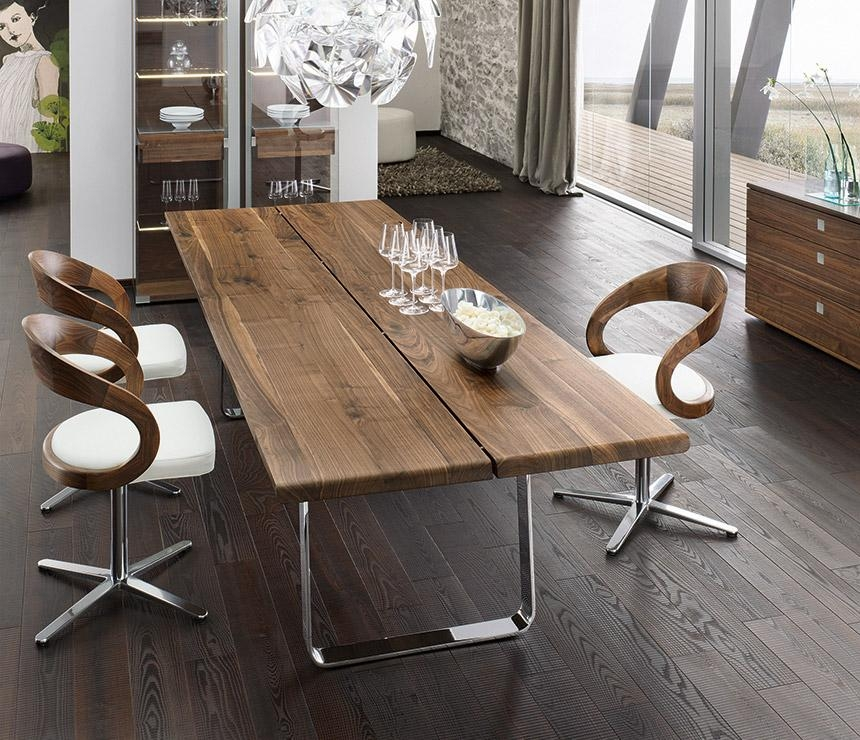 Contemporary Kitchen : Luxury Walnut Metal Dining Table Solid Wood In Modern Dining Sets (Image 8 of 20)