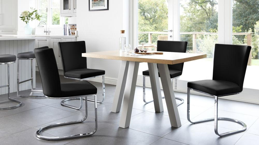 Contemporary Oak Cross 4 Seater Dining Table | Uk Pertaining To Current Small 4 Seater Dining Tables (View 14 of 20)