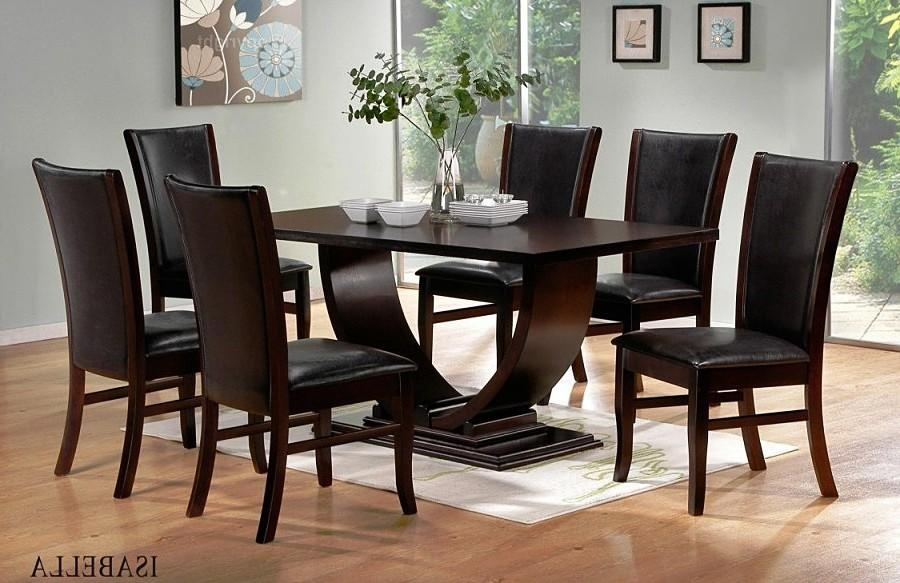 Contemporary Round Glass Dining Room Sets Table And Chairs With Intended For Newest Black Wood Dining Tables Sets (Image 11 of 20)