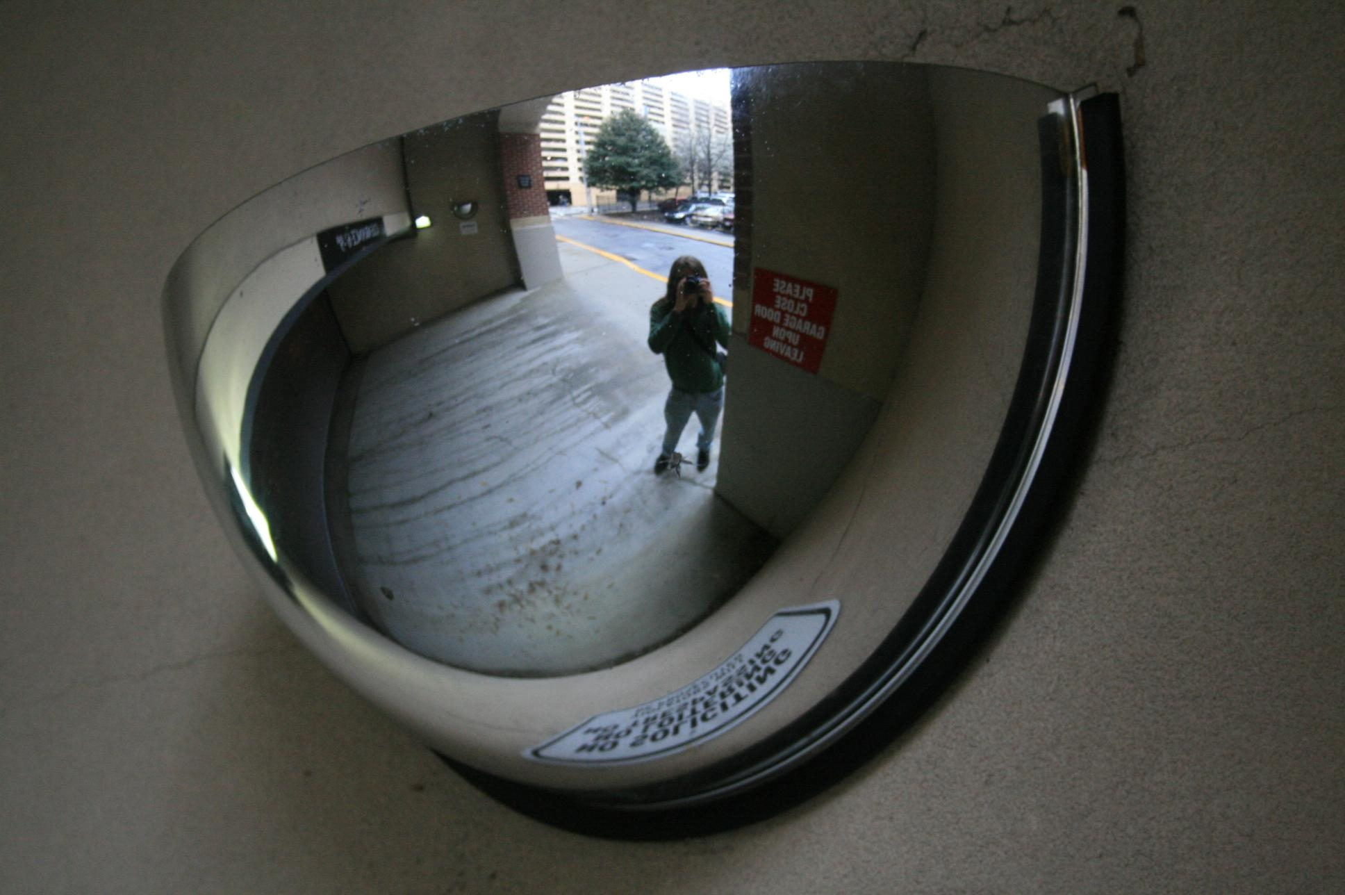 Conve Mirror In Atlanta Garage Entrance – Amys Office Pertaining To Hallway Safety Mirrors (Image 3 of 20)