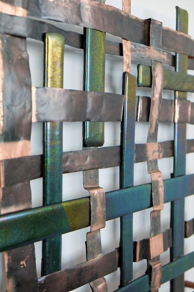 Copper Metal And Iridescent Glass Weave Metal Wall Art Panel Inside Woven Metal Wall Art (Image 8 of 20)