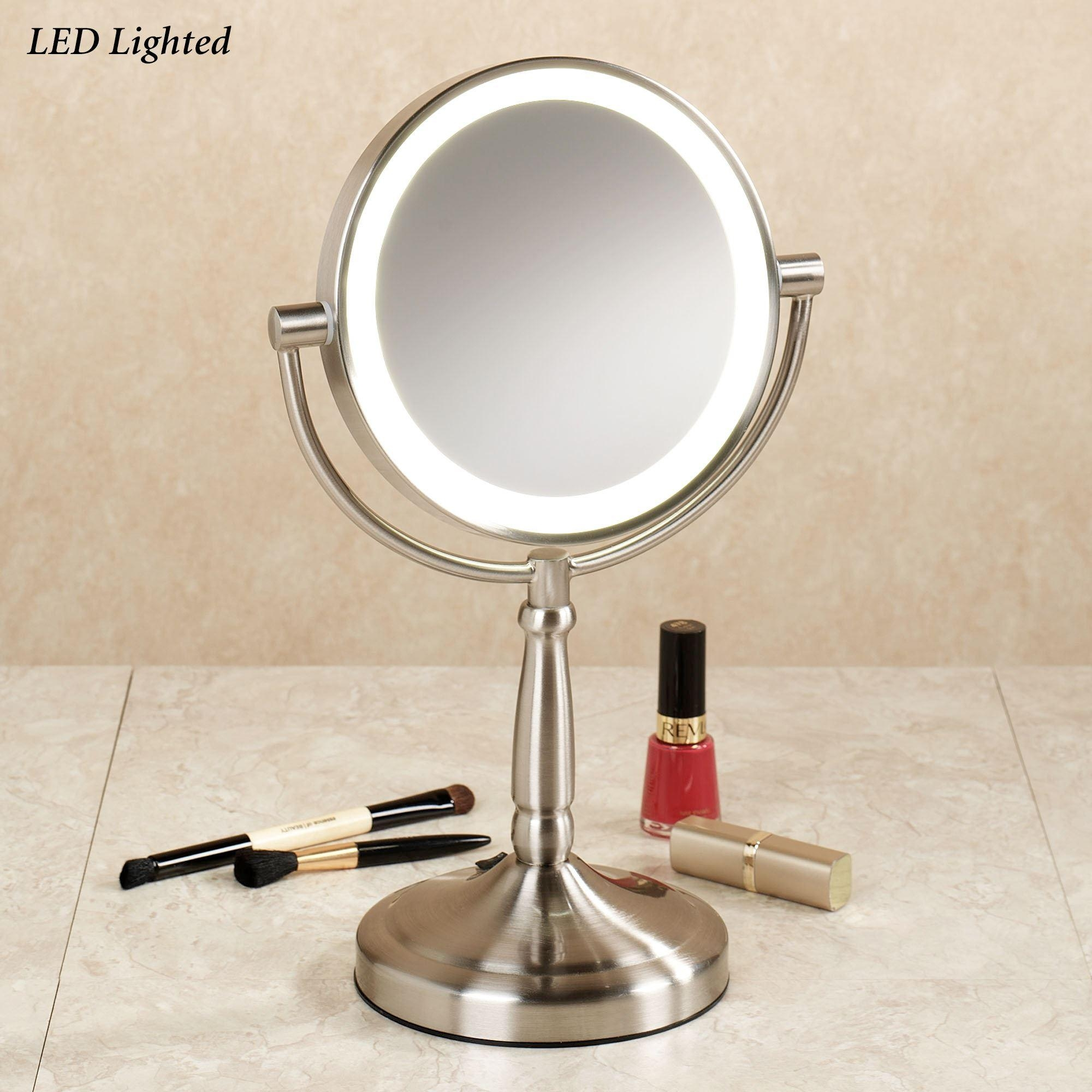 Cordless Led Lighted 10X Magnifying Vanity Mirror Pertaining To Magnified Vanity Mirrors (Image 7 of 20)