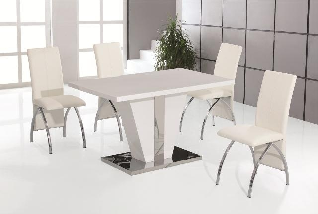 Costilla White High Gloss Dining Table With 4 White Faux Leather For 2018 White Dining Tables And Chairs (Image 5 of 20)