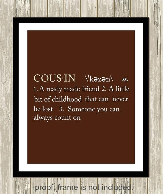 Cousin Definition Sister Definition Brother Definition Gift Intended For Brother Definition Wall Art (View 6 of 20)