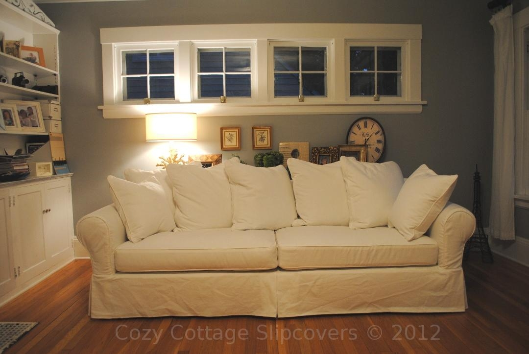 Cozy Cottage Slipcovers: Pillow Back Sofa Slipcover Intended For Arhaus Slipcovers (Image 10 of 20)