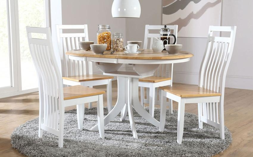 Cream Extending Round Table And Chairs – Starrkingschool For Recent Small White Extending Dining Tables (Image 4 of 20)