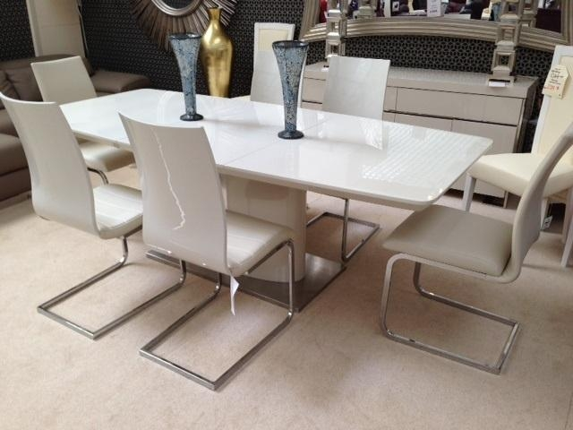 Cream Gloss Dining Table And Chairs I34 About Brilliant Interior For Gloss Dining Tables And Chairs (Image 5 of 20)