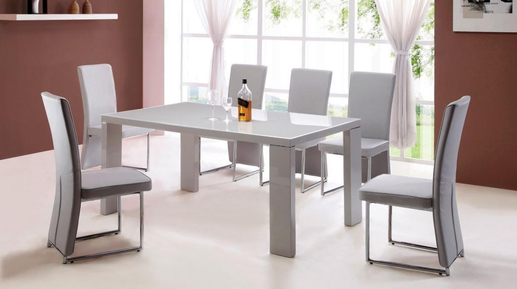 Cream Gloss Dining Table And Chairs I34 About Brilliant Interior Inside Gloss Dining Sets (Image 6 of 20)