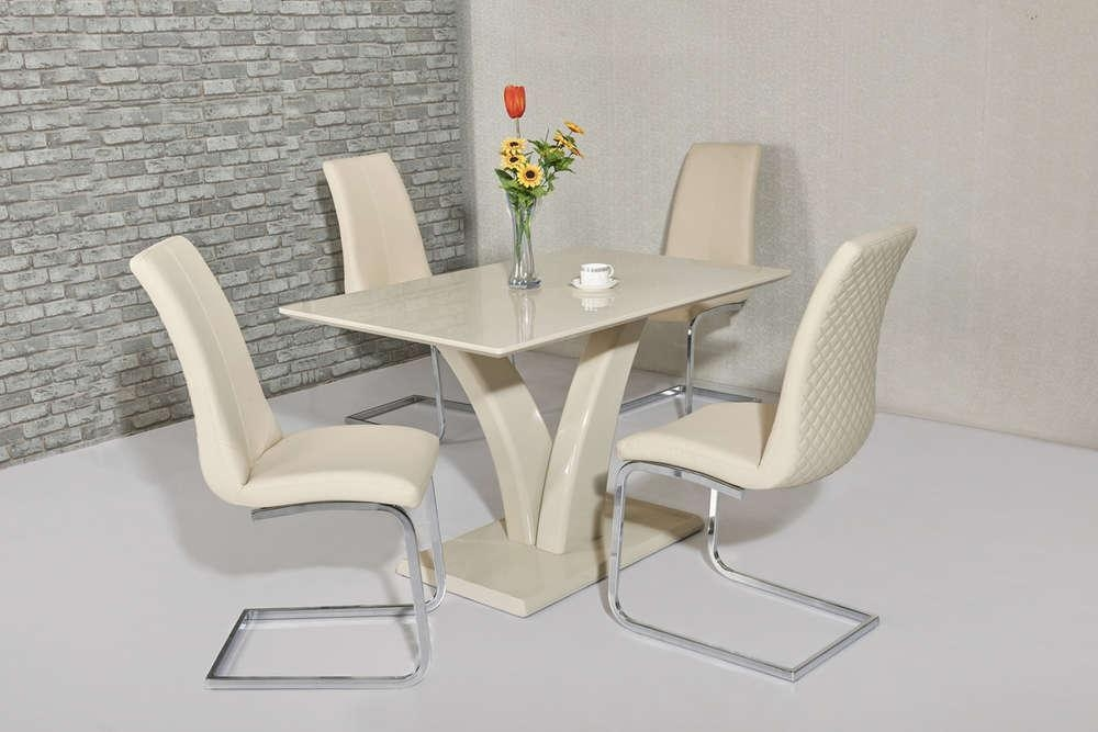 Cream High Gloss Dining Table And 4 Cream Chairs – Homegenies Throughout Newest Cream High Gloss Dining Tables (Image 5 of 20)