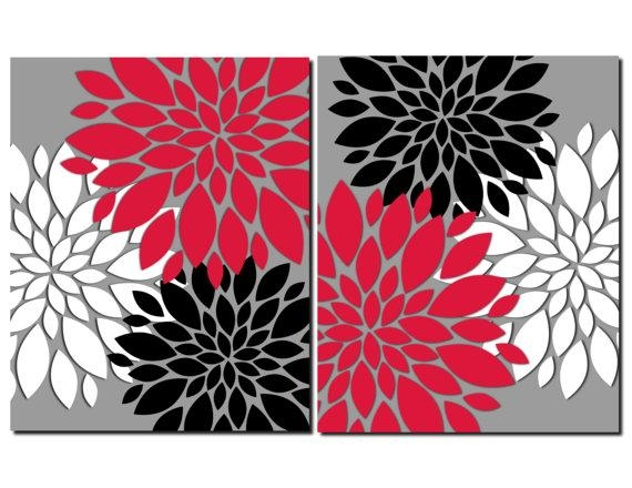 Creative Design Red And Black Wall Art Peachy Ideas Red Gray Black Throughout Red Bathroom Wall Art (Image 14 of 20)