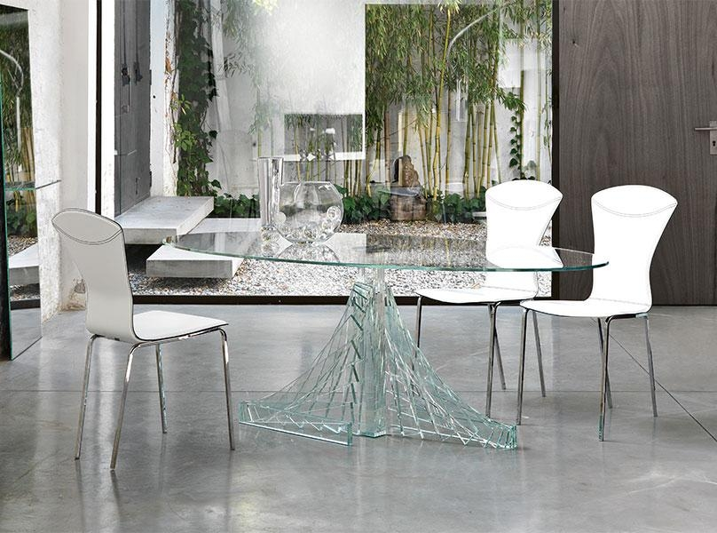 Creative Glass Table Dining Set With Glass Dining Room Sets Round Intended For Most Recent Glass Dining Tables White Chairs (Image 7 of 20)