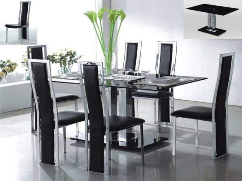 Creative Kitchen Dining Table Sets With Dining Room Great Table Intended For Recent Glass And Chrome Dining Tables And Chairs (Image 6 of 20)