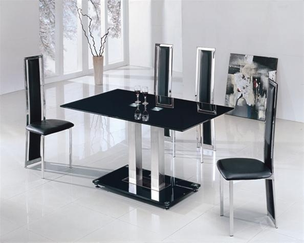 Creative Of Glass Dining Table And Chairs Set Glass Dining Table Regarding Latest Black Glass Dining Tables And 4 Chairs (View 4 of 20)