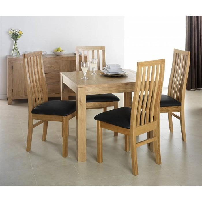 Cuba Oak Square Oak Dining Table With 4 Chairs – Flintshire With Regard To 2018 Extendable Dining Tables And 4 Chairs (Image 2 of 20)