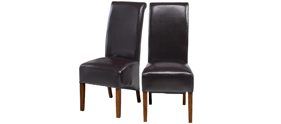 Cube Bonded Leather Dining Chairs Brown – Pair | Quercus Living Inside Recent Dark Brown Leather Dining Chairs (Image 6 of 20)