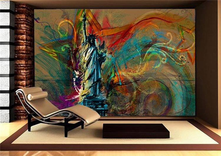 Custom Large Wall Mural Statue Of Liberty Photo Wallpaper Silk Pertaining To Abstract Art Wall Murals (View 2 of 20)