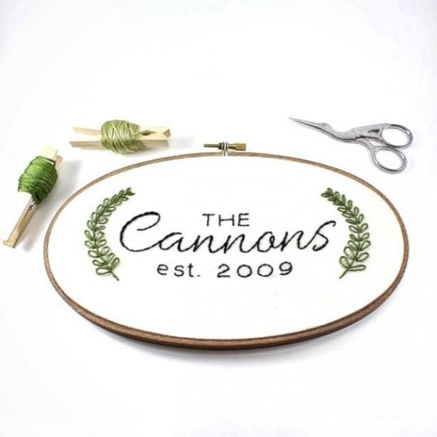 Custom Last Name Embroidery Hoop Art | Aftcra Inside Custom Last Name Wall Art (Image 6 of 20)