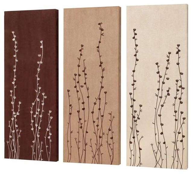 Dainolite Flower Bud Embroidery On Suede Wall Art, Set Of 3 With Wall Art Sets Of  (Image 7 of 20)