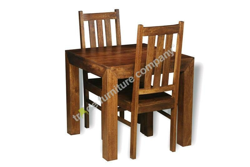 Dakota Dark Small Table & 2 Dakota Chairs | Solid Wood Furniture Regarding Recent Small Dark Wood Dining Tables (Image 7 of 20)