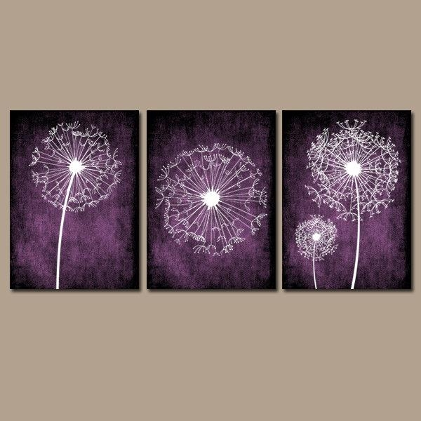 Dandelion Wall Art Purple Bedroom Wall Art Dandelion With Regard To Purple Bathroom Wall Art (View 12 of 20)