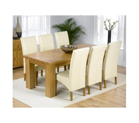 Daniela Solid Oak Dining Table And 6 Leather Chairs In Regarding Current Cream And Oak Dining Tables (View 20 of 20)