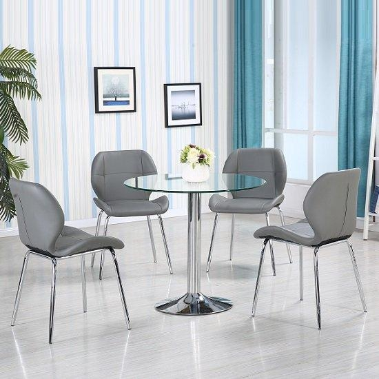 Dante Glass Dining Table In Clear With 4 Grey Darcy Chairs In Most Recent Dining Tables Grey Chairs (Image 13 of 20)