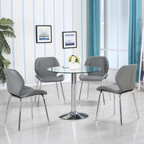 Dante Glass Dining Table In Clear With 4 Grey Darcy Chairs With Regard To Best And Newest Grey Glass Dining Tables (View 18 of 20)