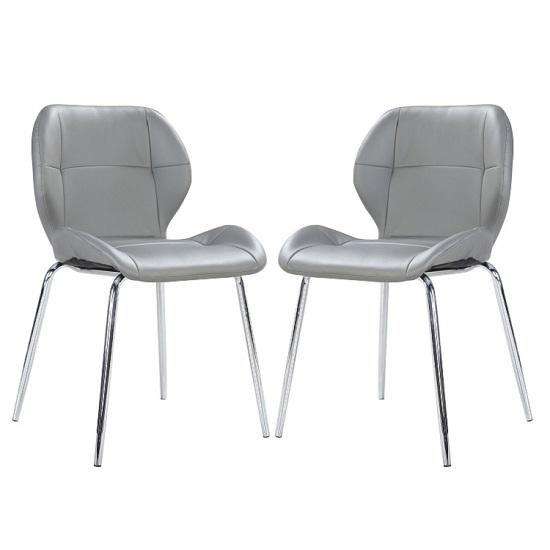 Darcy Dining Chair In Grey Faux Leather In A Pair 27198 Intended For Grey Leather Dining Chairs (View 14 of 20)
