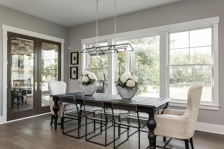 Dark Brown Dining Table With See Through Dining Chairs Inside 2018 Dark Dining Tables (Image 10 of 20)