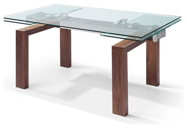 "Davy Extendable Dining Table 1/2"" Glass Top Solid Wood With Walnut With Most Current Extendable Dining Sets (Image 4 of 20)"