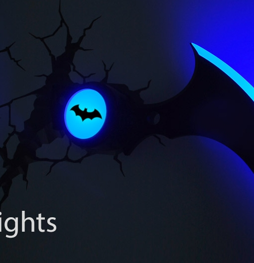 Dc Comics Batman Batarang 3D Wall Art 3D Fx Deco Night Light With 3D Wall Art Nightlight (Image 10 of 20)