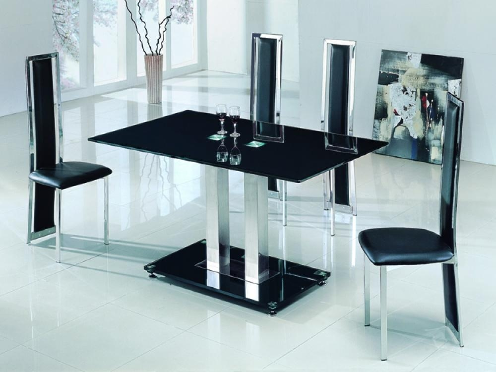 Decorated Glass Breakfast Table | Boundless Table Ideas Throughout Newest Dining Tables Black Glass (Image 6 of 20)