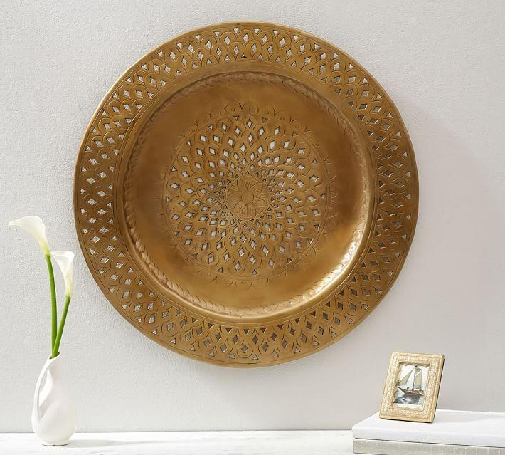 Decorative Pierced Brass Disc Wall Art | Pottery Barn With Decorative Metal Disc Wall Art (Image 14 of 20)