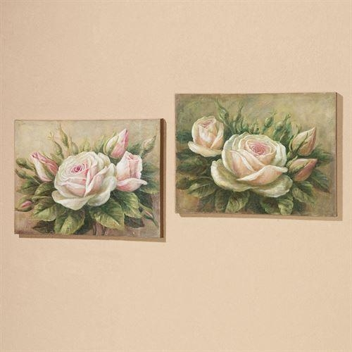 Delicate Petals Roses Canvas Wall Art Set In Rose Canvas Wall Art (View 8 of 20)