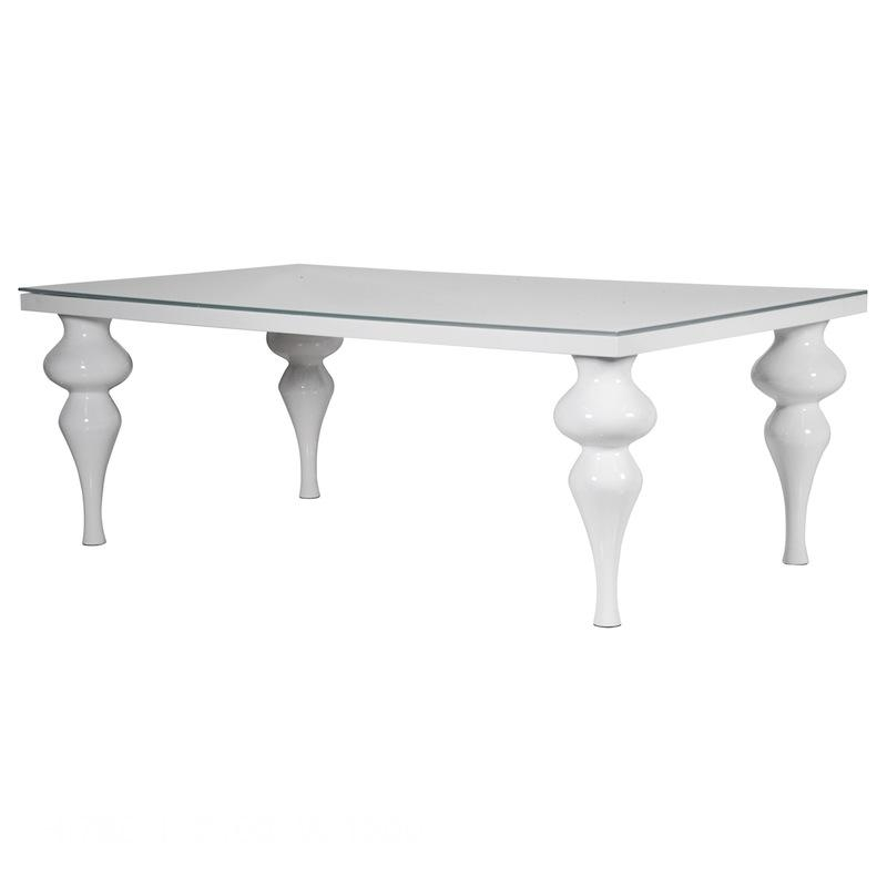 Delilah White Gloss Dining Table Regarding 2018 Glass And White Gloss Dining Tables (Image 5 of 20)
