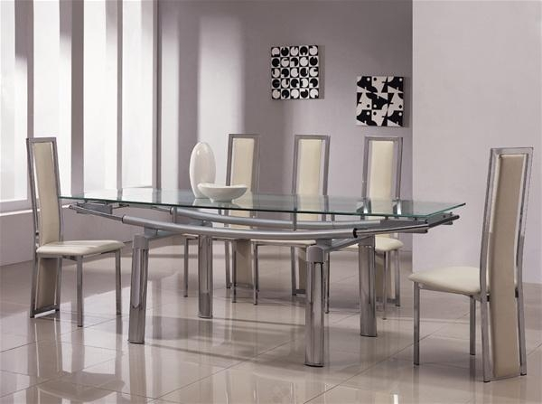 Delta Mega Extending Glass Chrome Dining Table And Chairs Regarding Most Current Chrome Dining Room Sets (View 9 of 20)